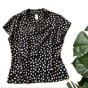 Vintage 100% Silk Button Down Polka Dot Blouse!